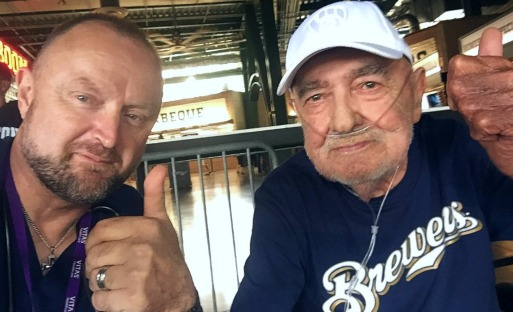 VITAS LPN Jeremy and his patient Russell at the Brewers game